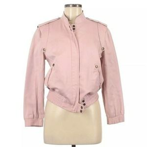 Marc Jacobs Bomber Jacket Pink Snap Closure Cotton